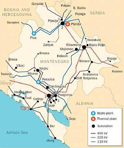 Mapa Crne Gore Energija Cedis